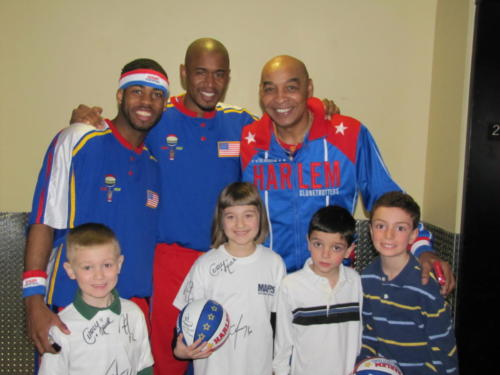 Curly Neal and the Harlem Globetrotters with The Cohen kids and friends